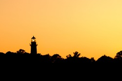 Lighthouse with Glowing Sky