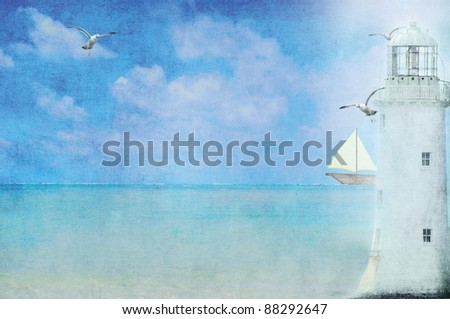 lighthouse with sailboat and seagulls