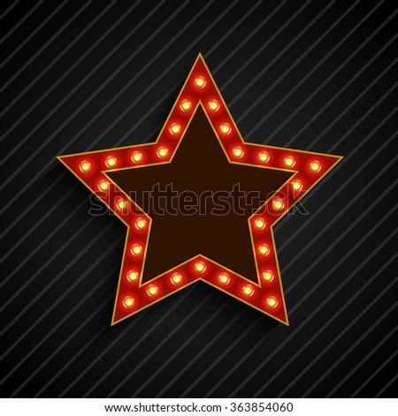 Lighting bulb banner star sign on the on black background #363854060