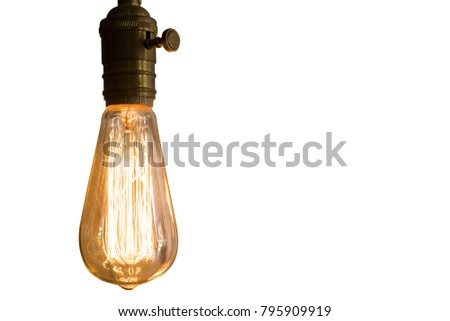 Lighting decor style Incandescent bulbs, isolated on white background