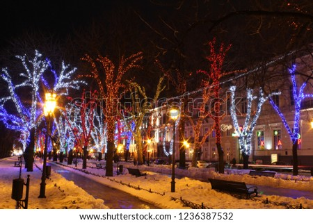 Lighting design makes it possible to turn the streets into a beautiful fairy tale #1236387532
