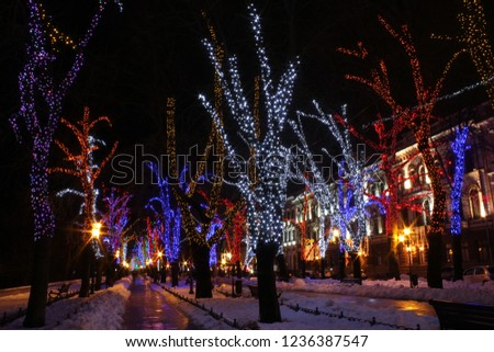 Lighting design makes it possible to turn the streets into a beautiful fairy tale #1236387547