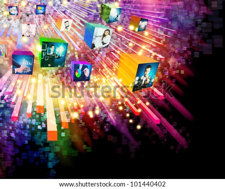 lighting effects with 3D cube screen ,graphic design ,business concept