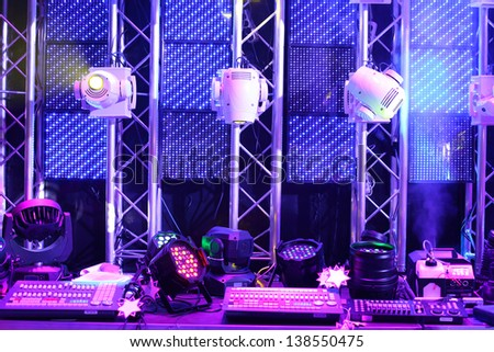 Lighting equipment and controls for clubs and concert halls in the exhibition lighting equipment