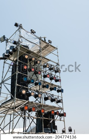 Lighting equipment of an outdoor stage