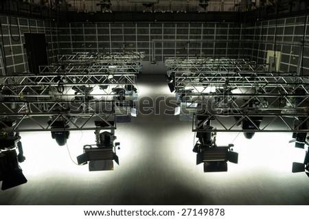 Lighting equipment of TV studio.