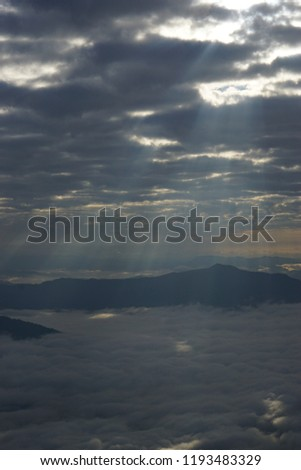 Lighting on The Sea of Fog, view from Hill 103, Doi Pha Tang, Chiang Rai, Thailand, Dec 2017 #1193483329