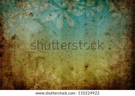 Lightly striped grunge dirty retro vintage old paper background with floral theme