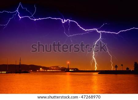 Lightning above the lake