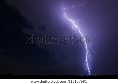 lightning and clouds in night landscape storm