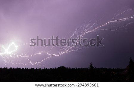 lightning and flash in the night