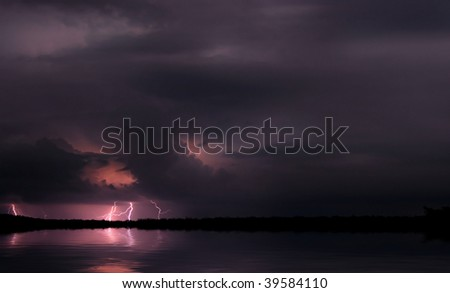 Lightning and storm. Night scene. Africa