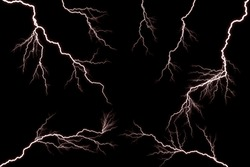 Lightning and thunder bolt  isolated  on black background,  The concept of the intensity of weather, rainstorm.