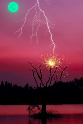 Lightning and Venus, severe weather rain clouds during storm at night. Thunder hitting tree caught fire