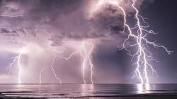 Lightning at sea