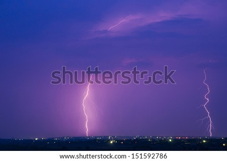 Lightning. Beautiful purple sky.