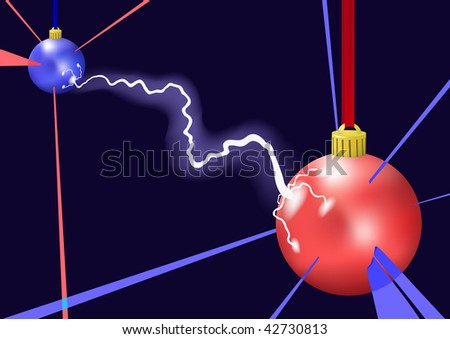 Lightning between christmas balls