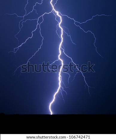Lightning bolt at night.