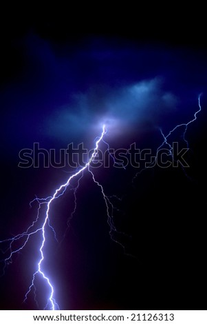 Lightning bolt in clouds