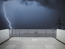 Lightning bolts strike from a thunderstorm at night on the balcony. Balcony view of the thunderstorm in the field. Landscape. Terrace with a beautiful view of the storm. Background with landscape.