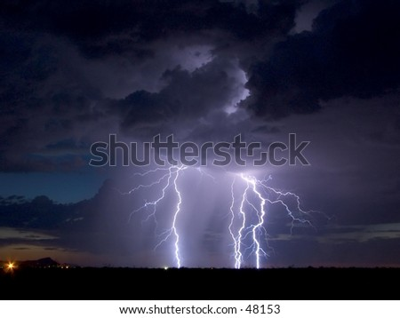Lightning display at sunset in southwestern United States.