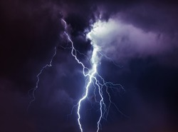 Lightning during night