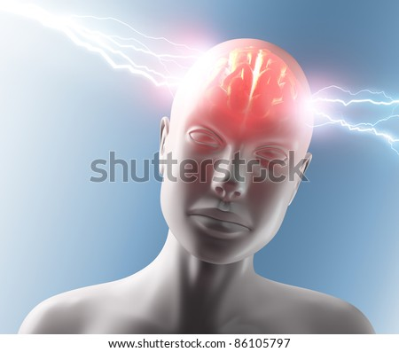 Lightning going through the head and brain. Concept of headache.