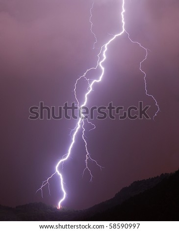 Lightning in a night thunderstorm