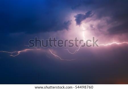 Lightning in dark sky. Composition of nature.