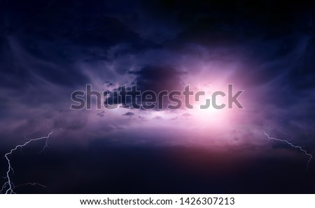 Lightning in the Dark and Dramatic Storm Clouds #1426307213