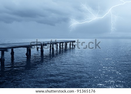 lightning in the night on the sea