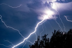 lightning in the sky during a thunderstorm