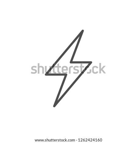 Lightning line icon isolated on white