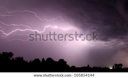 Lightning on the night sky