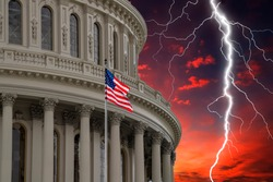 lightning on Washington DC Capitol dome red sunset dramatic sky