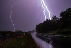 Lightning over lake Balaton. Summer thunderstorm.