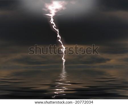 Lightning over night sea