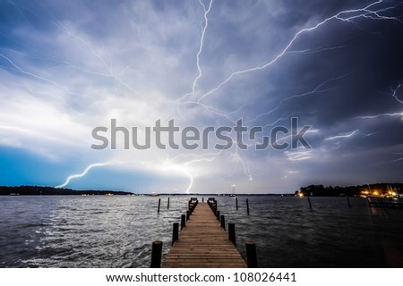 Lightning Over Pier in Deltaville, Virginia