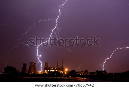 lightning over power station south africa, gauteng