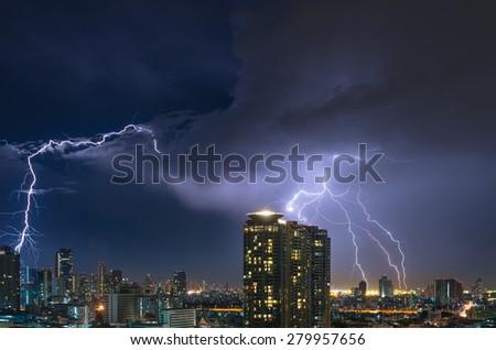 Lightning over the Bangkok cityscape at night