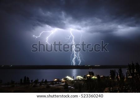 Lightning over the river
