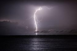 Lightning over the sea, Rio de Janeiro, Brazil.