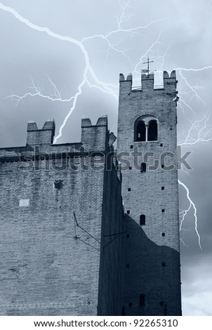 lightning over the tower of the castle