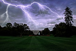 lightning over the White House in Washington DC, USA. Dramatic storm sky
