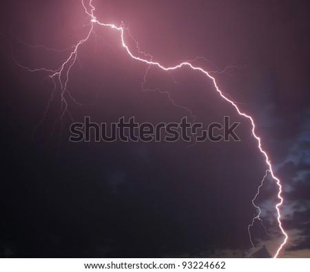 Lightning sky - stock photo
