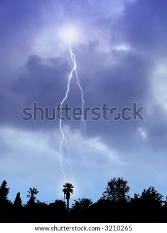 Lightning Storm and Suburban Skyline Silhouette