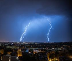 Lightning storm in city of Belgrade