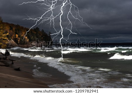 Lightning storm on beach at Pictured Rocks National Lakeshore