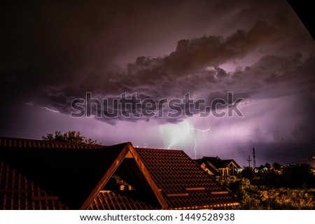 Lightning storm over a residential area #1449528938