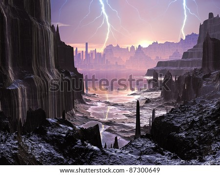 Lightning Storm over Alien Glowing City
